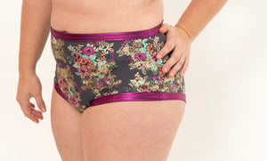 Metallic Floral High Rise Ultra Booty Briefs