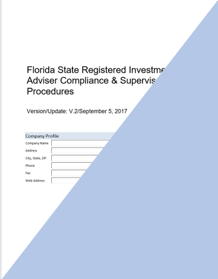 investment adviser compliance IA- Florida State Registered Investment Adviser Compliance Manual ...