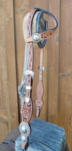 "Headstall - HSE12 - 5/8"" Bean shaped full sliding ear floral carved cheeks with custom conchos"