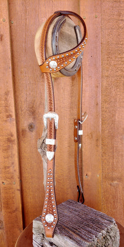 Headstall - HSE07 - Shaped full sliding ear with shaped basket antique with dots and alpaca trim