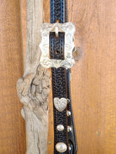 Headstall - HSE02 - Split Ear w/shaped cheeks.  Sterling Overlay High dome conchos and center bar buckles
