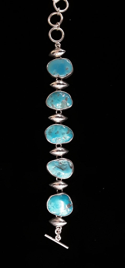 Jewelry - J01  Rubio Heavy Link Bracelet w/Sleeping Beauty Turquoise