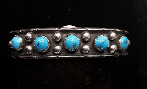 Jewelry - J40 Native American 5-stone Blue Turquoise Stamped Bracelet
