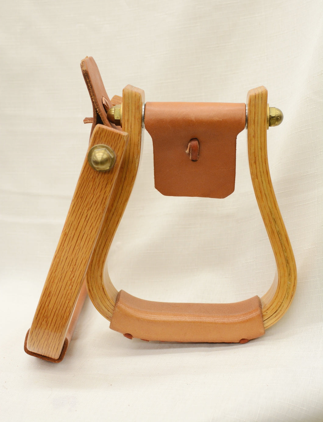 STIRRUPS - STP22  Nettles Leather wrapped wood 1