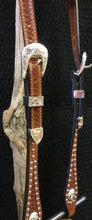 "Headstall - HSE19 - 5/8"" Sliding Ear with Shaped Cheeks Antique Spots and Silver Plated Trim"