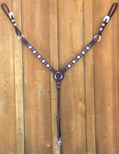 "Breast Collar - BC03 - 1 1/4"" Straight Breast Collar with Basket Brown with Three Spot Pattern with Silver Plated Trim"
