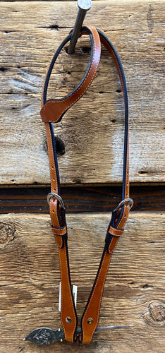 Headstall - HSE11 - Full Sliding Ear w/ Shaped Cheeks Plain Medium Oil
