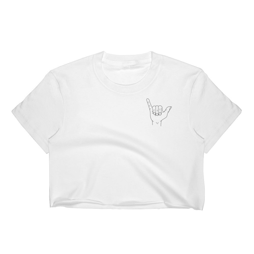 Hang Loose Crop Top (white)
