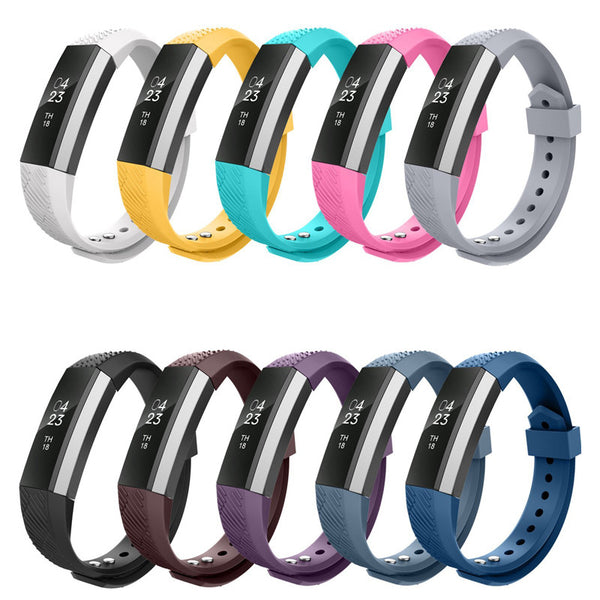 High Quality Soft Silicone Fitbit Alta Watch Metal Bands Wristband