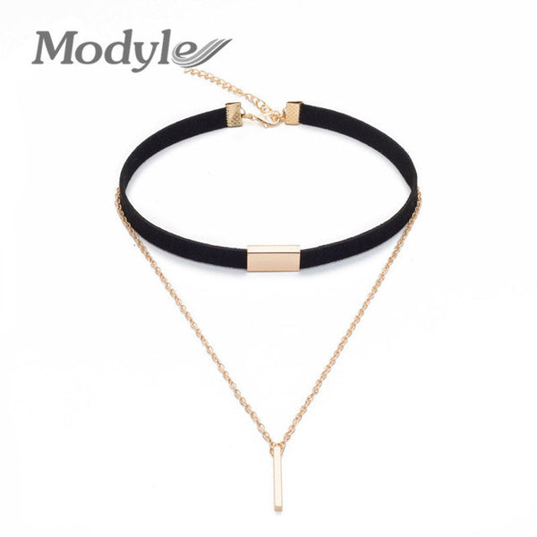Modyle Fashion Black and Brown Velvet Choker Necklace