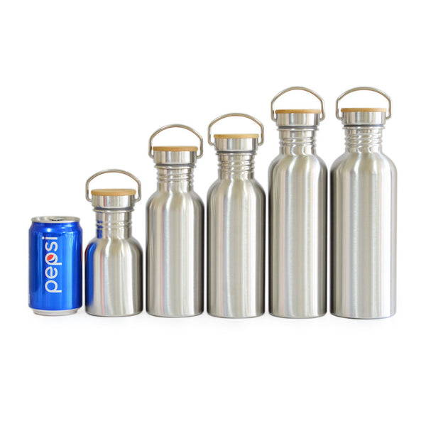 Stainless Steel Water Bottle Bamboo Lid