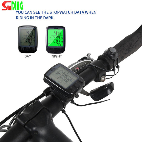 Sunding SD 563B Waterproof LCD Bicycle Computer Odometer Speedometer