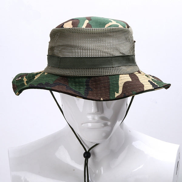 New Summer Outdoor wide brim Fisherman floppy Hat Jungle Camouflage Sun Men