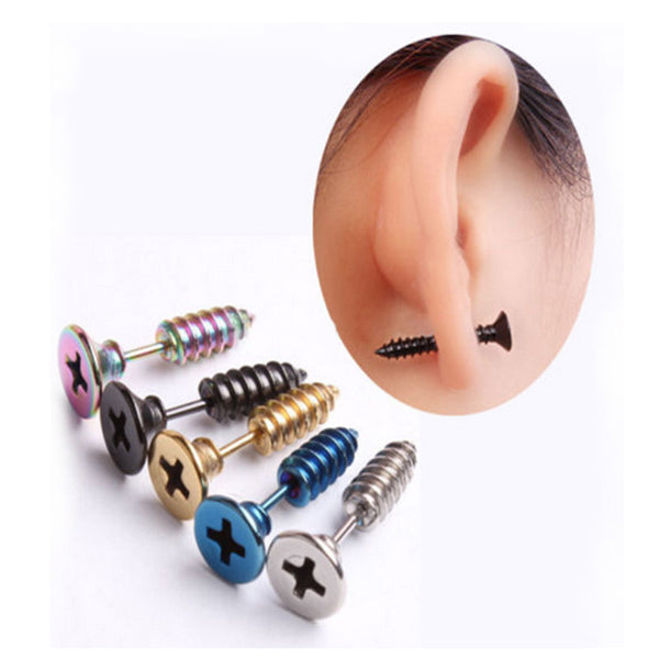 Punk Style Stainless Steel 5 Colors Stud Earrings unisex