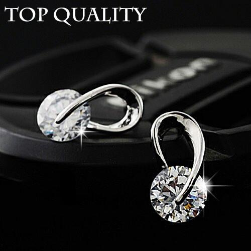17KM Austria Crystal Wedding Silver Color Zircon earrings