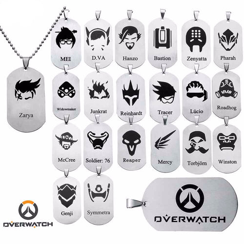 20 Overwatch Characters Tags and Necklaces