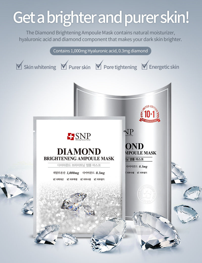 Diamond Brightening Ampoule Sheet Mask  (11 Sheets)