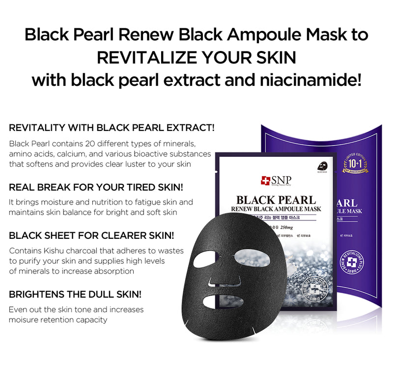 Black Pearl Renew Black Ampoule Sheet Mask (11 Sheets)