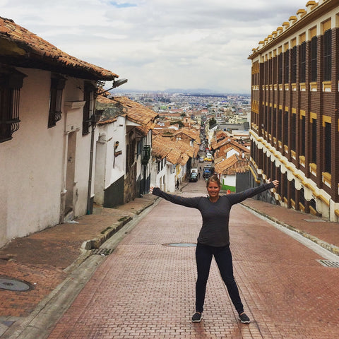 Walking around the old brick streets of Bogota, Colombia