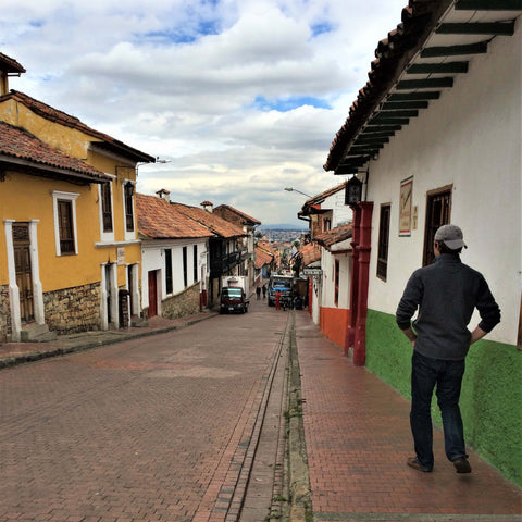 Walking down the hilly streets of Bogota, Colombia