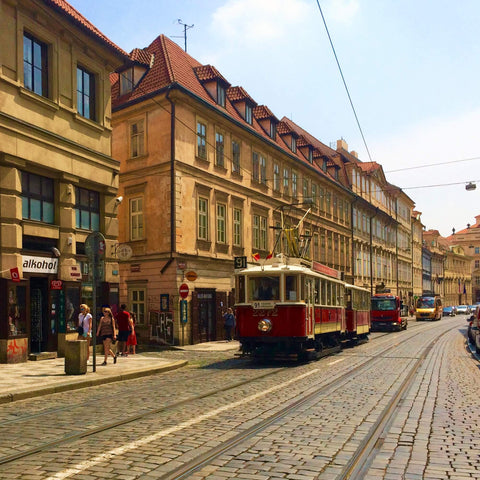 Busy streets of Prague, Czech Republic
