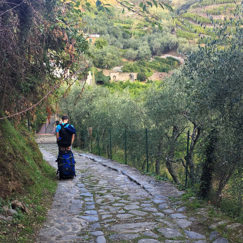 dragging luggage down cobblestone streets in cinque terre, italy
