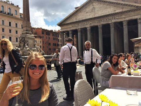 wine in front of the pantheon in rome, italy