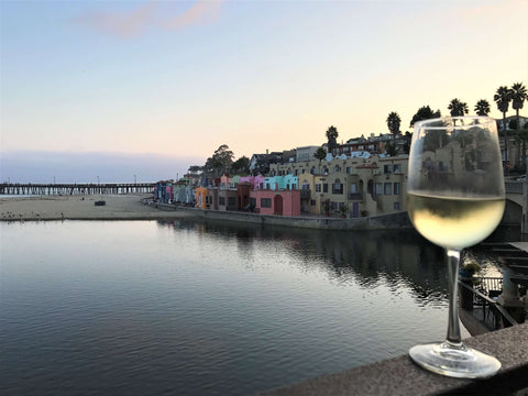 enjoying a glass of wine in capitola california