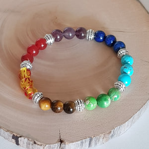 Bracelet - 7 Colour Chakra Stone with Zinc Spacers