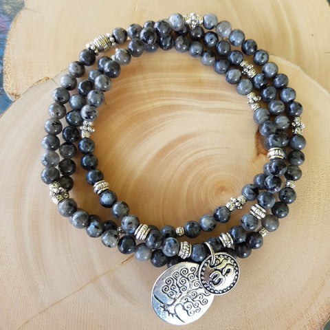 Bracelet - Black Moonstone with Tree of Life charm