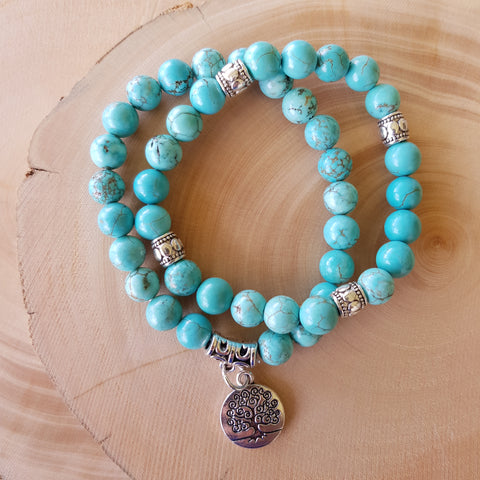 Bracelet Set - Turquoise Stone with Tree of Life charm
