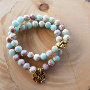 Bracelet Set - Snakeskin Blue with Om & Buddha charms