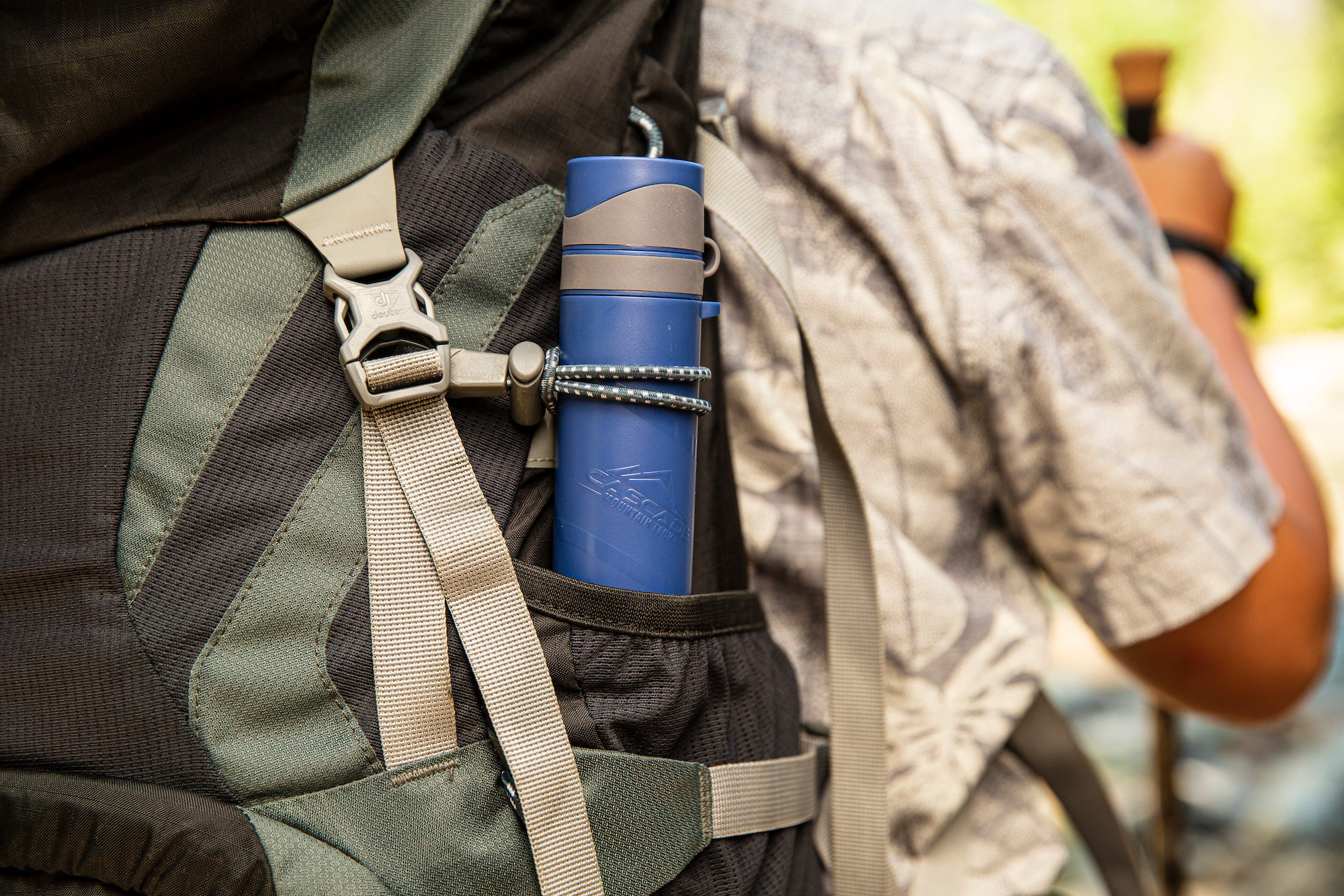 Water filter straw in backpack