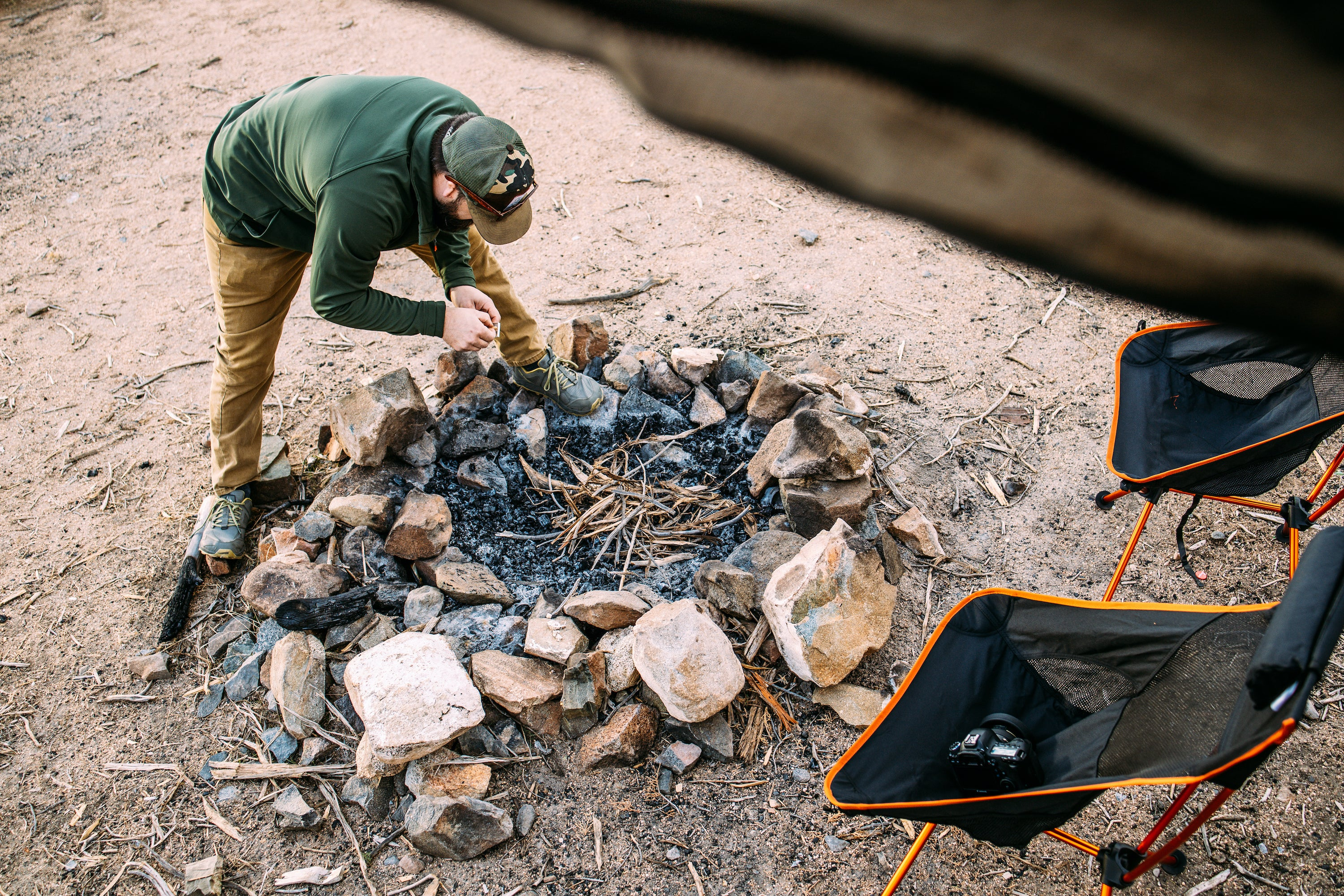 10 Tips for Winter Camping in the Desert - Desert Camping Fire Pit