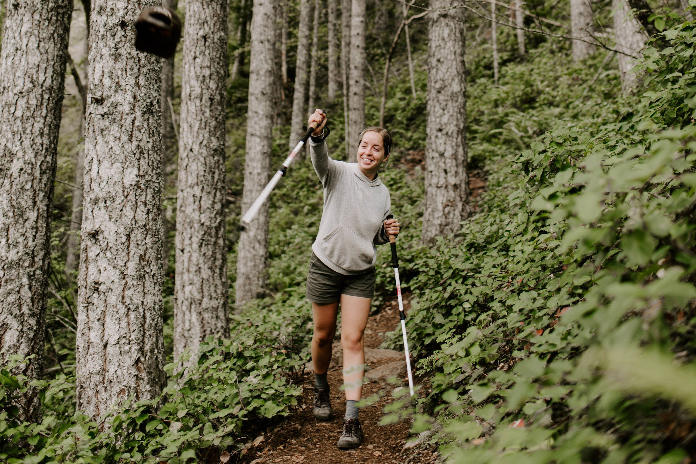 hiker practices social distancing trail etiquette during COVID-19