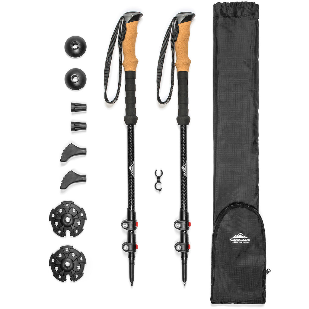 Cascade Mountain Tech 3K Carbon Fiber Quick Lock Trekking Poles Cork Grip