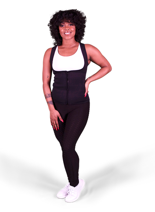 image-main:Neoprene Shaper Zip Up Sweat Tank Vest