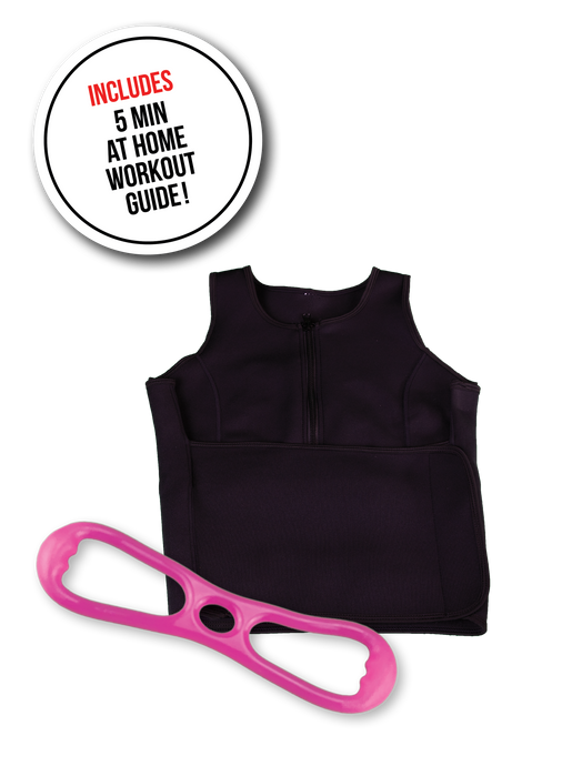 image-main:Sweat Vest and Resistance Band Bundle - Pink Hard