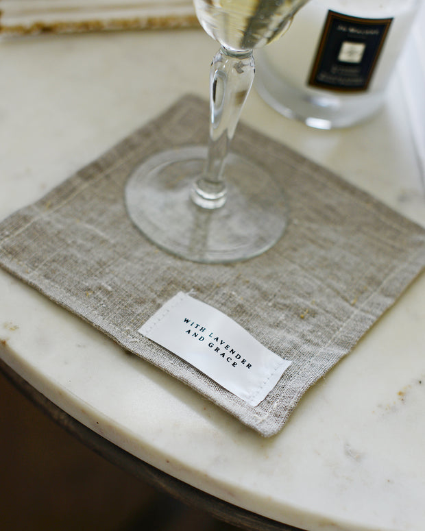 Rustic natural linen coaster, set of 4