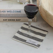 black and ivory wide stripe linen coaster, set of 4
