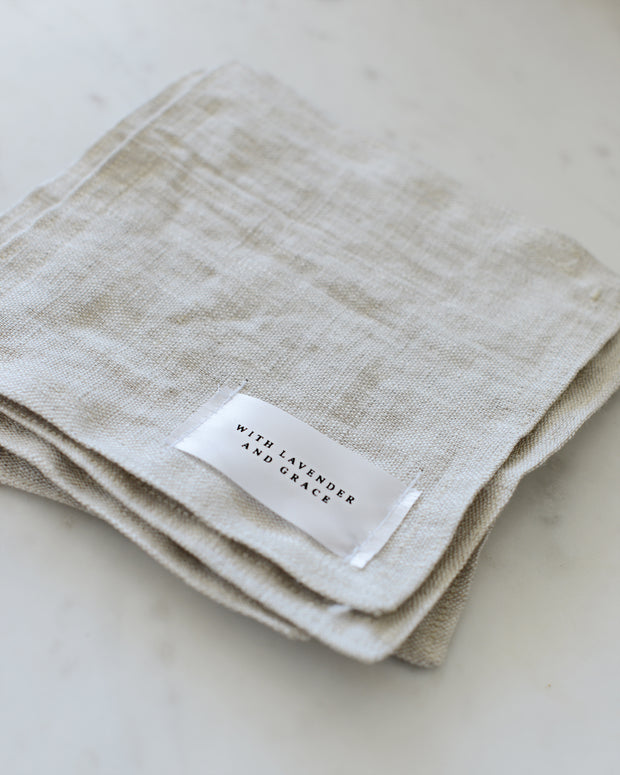 natural linen coaster, set of 4