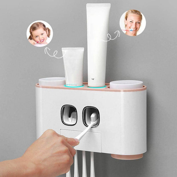 Family Toothpaste Dispenser & Toothbrush Organizer System