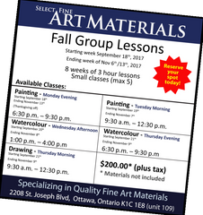 Fall Lesson classe schedule