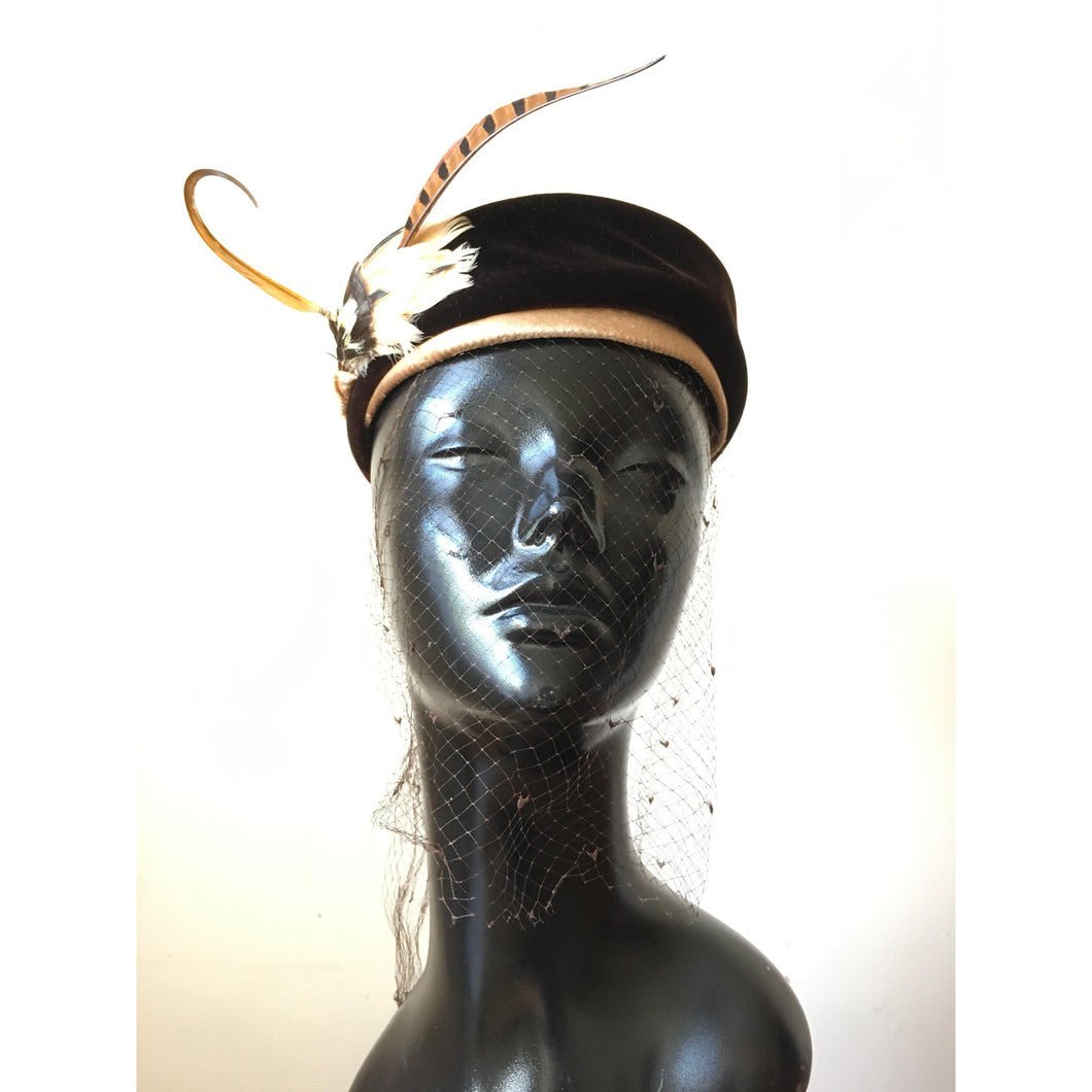 50s pill box with feathers & veil
