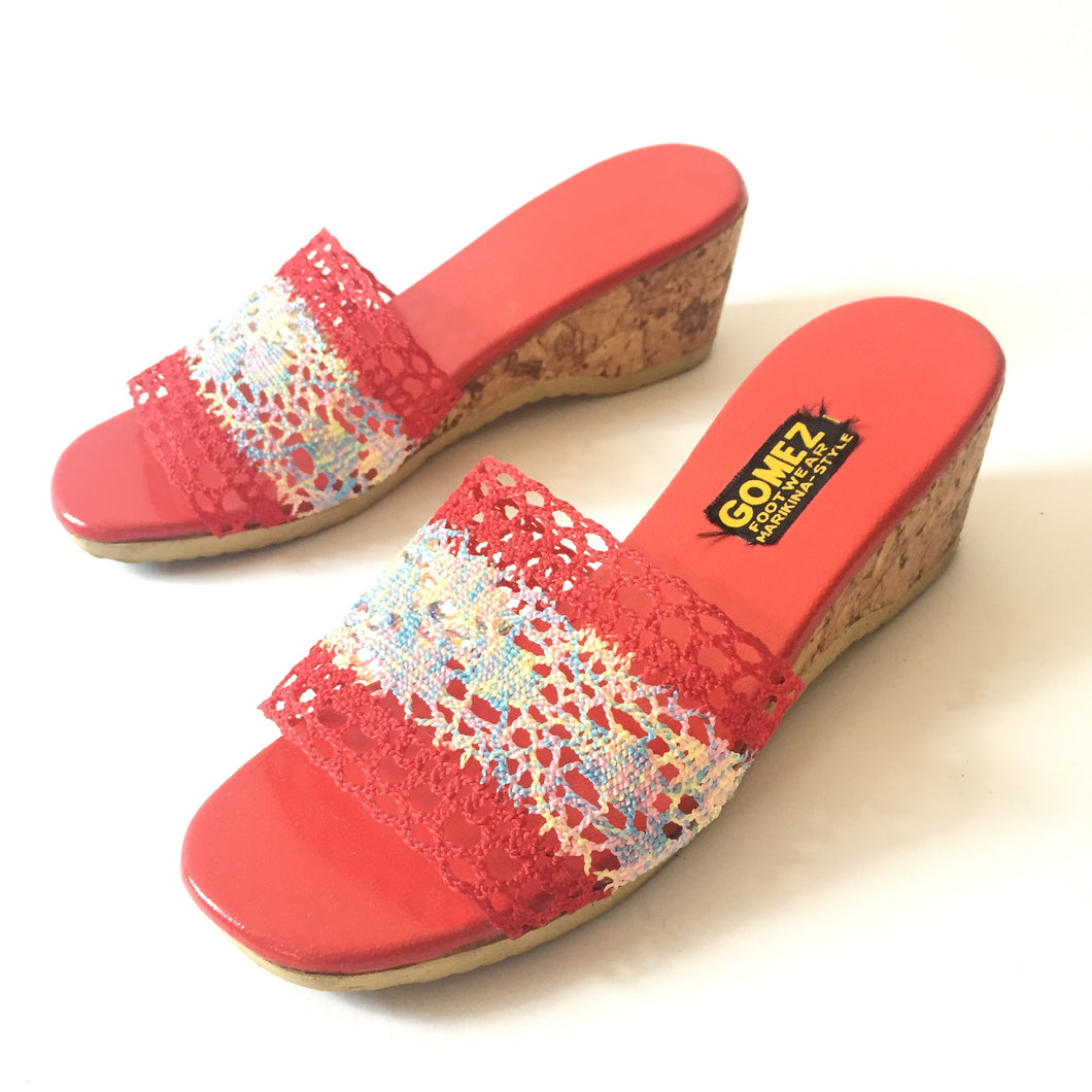 1970s - 80s straw wedge sandals | 6