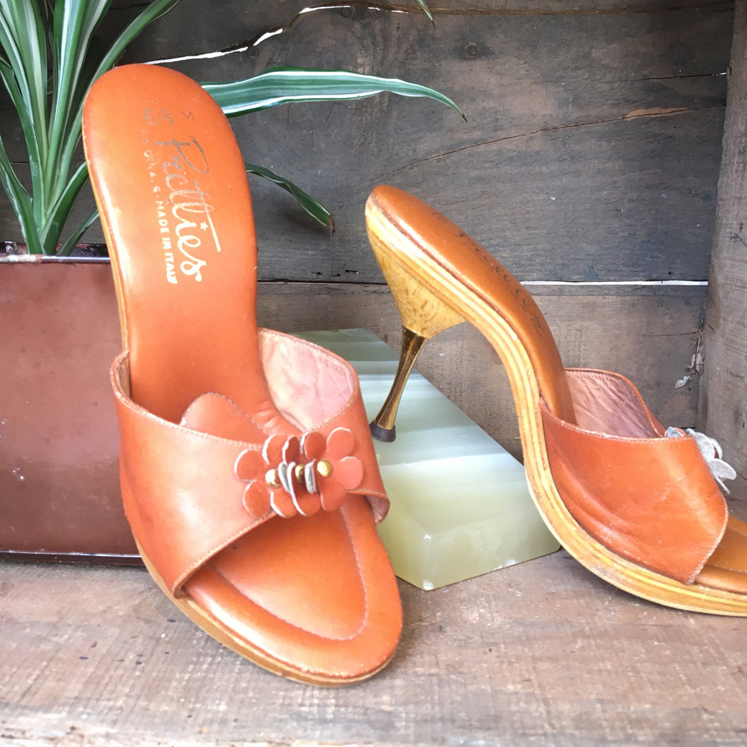 70s leather & wood Pretties heels | size 6 1/2