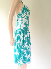 90s palm tree print halter dress | M
