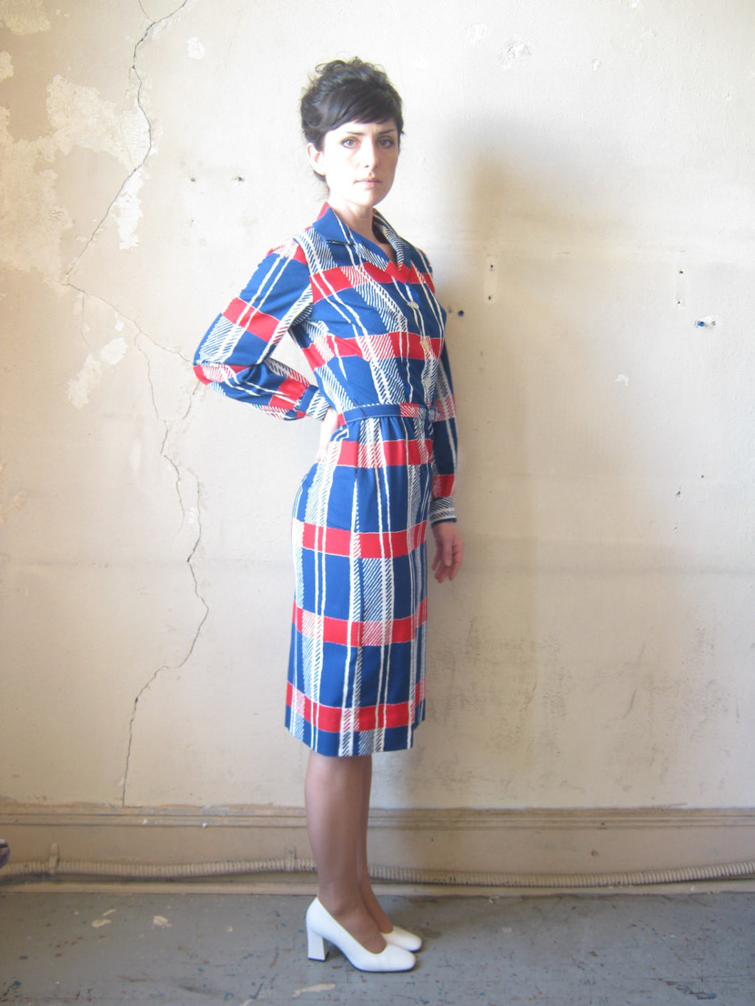 60s macro houndstooth shirt dress | XS.S