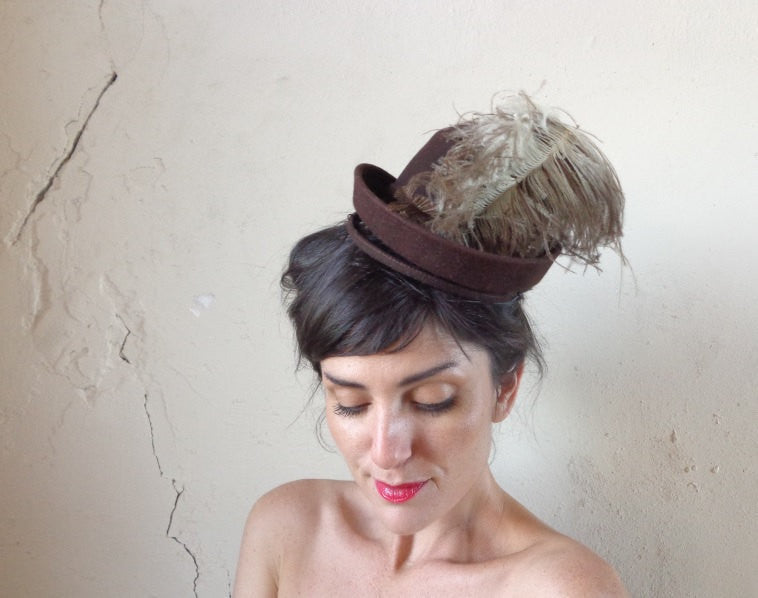 antique mini top hat & ostrich plumage