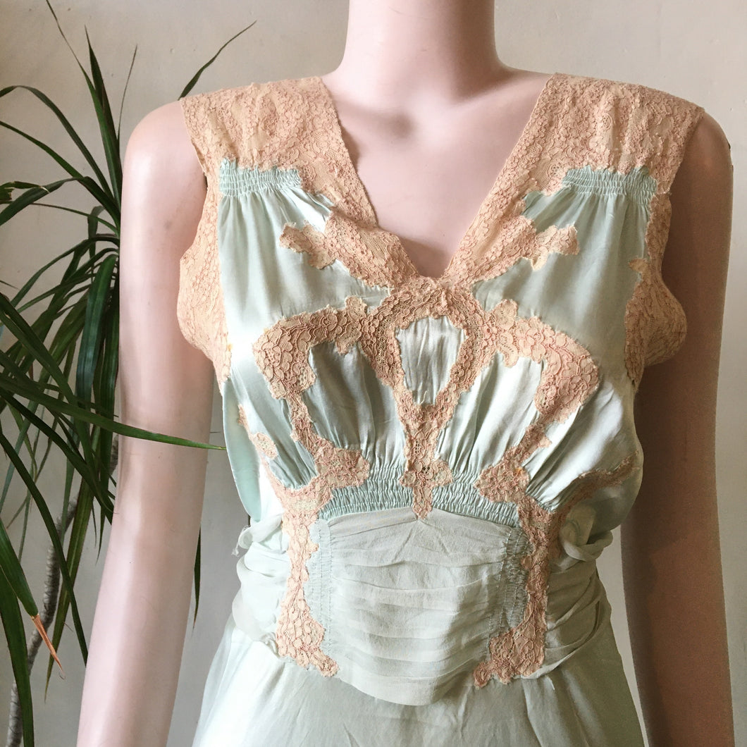 1940s Satin & Lace Nightgown